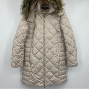 Kenneth Cole's Faux Fur Hooded Down Puffer Coat M